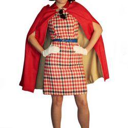 Stewardess: Vintage reversible cape, $110.99. Vintage 60's dress, $68. White gloves, $12. Flip wig,  $42. Stewardess hat, $48. Vintage shoes, $55.