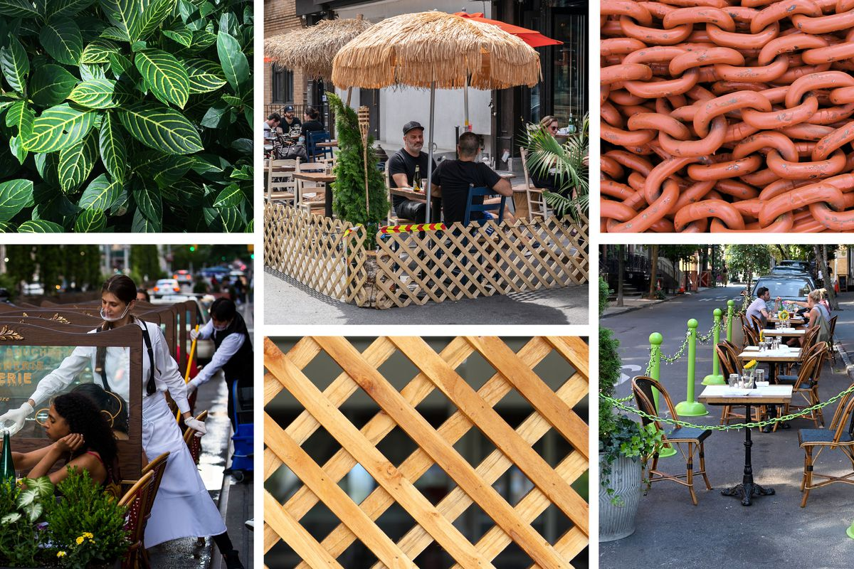 A grid of images showing outdoor restaurants enclosed in trellises, planter boxes, and cordons