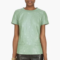 """<b>Marc by Marc Jacobs</b> Green Gia Leather T-Shirt, <a href=""""http://www.ssense.com/women/product/marc_by_marc_jacobs/green_gia_dot_leather_t-shirt/64275"""">$550</a> at Ssense"""