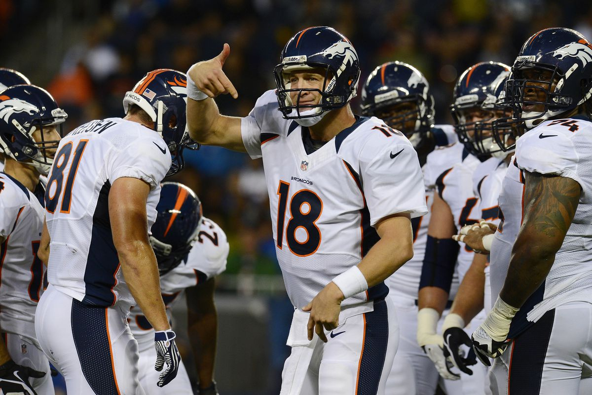 Peyton Manning informs his linemen that he'll pop a cap in their collective arses if they let him get sacked.
