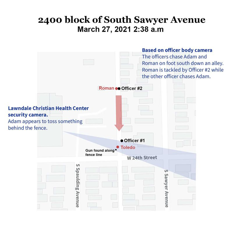Map showing the location of the officers, Adam Toledo, and Roman. Video from the officers body cameras show the officers chase Adam and Roman south through an alley. Roman is apprehended by the female officer, while the male officer chases after Adam. Video from the Lawndale Christian Health Center pointing towards the alley shows Adam appearing to toss something behind the fence.
