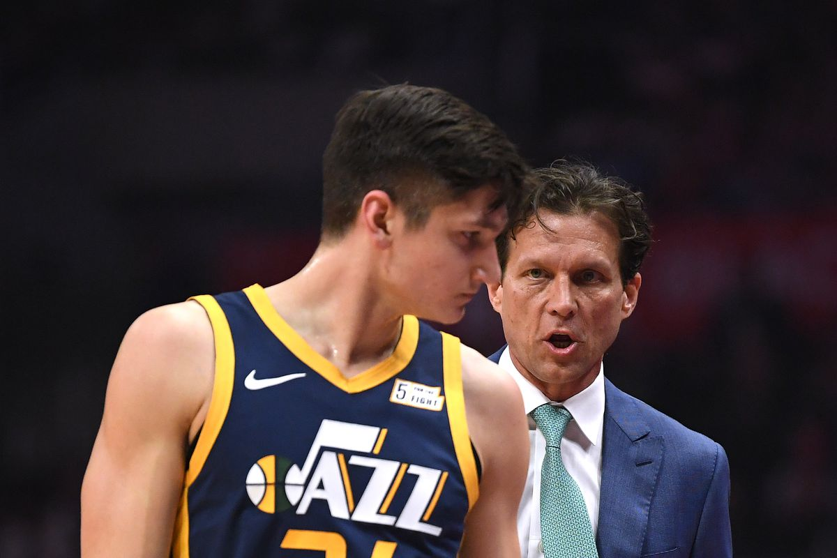990412b3546 Former Duke star Grayson Allen getting instructions from Utah Jazz head  coach (and also former Blue Devil) Quin Snyder