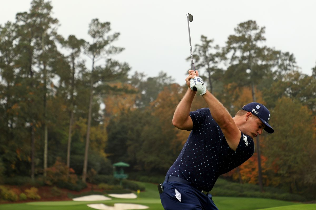 Bryson DeChambeau of the United States plays his shot from the 12th tee during a practice round prior to the Masters at Augusta National Golf Club on November 11, 2020 in Augusta, Georgia.