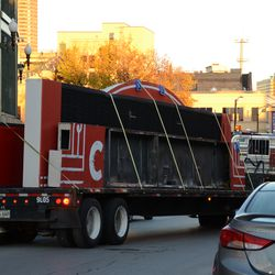 4:29 p.m. One last view of the flatbed truck driving away from the ballpark -