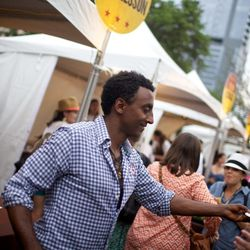 Marcus Samuelsson personally handed out his rocking tacos at Saturday's event. // photo by Patrick Michels