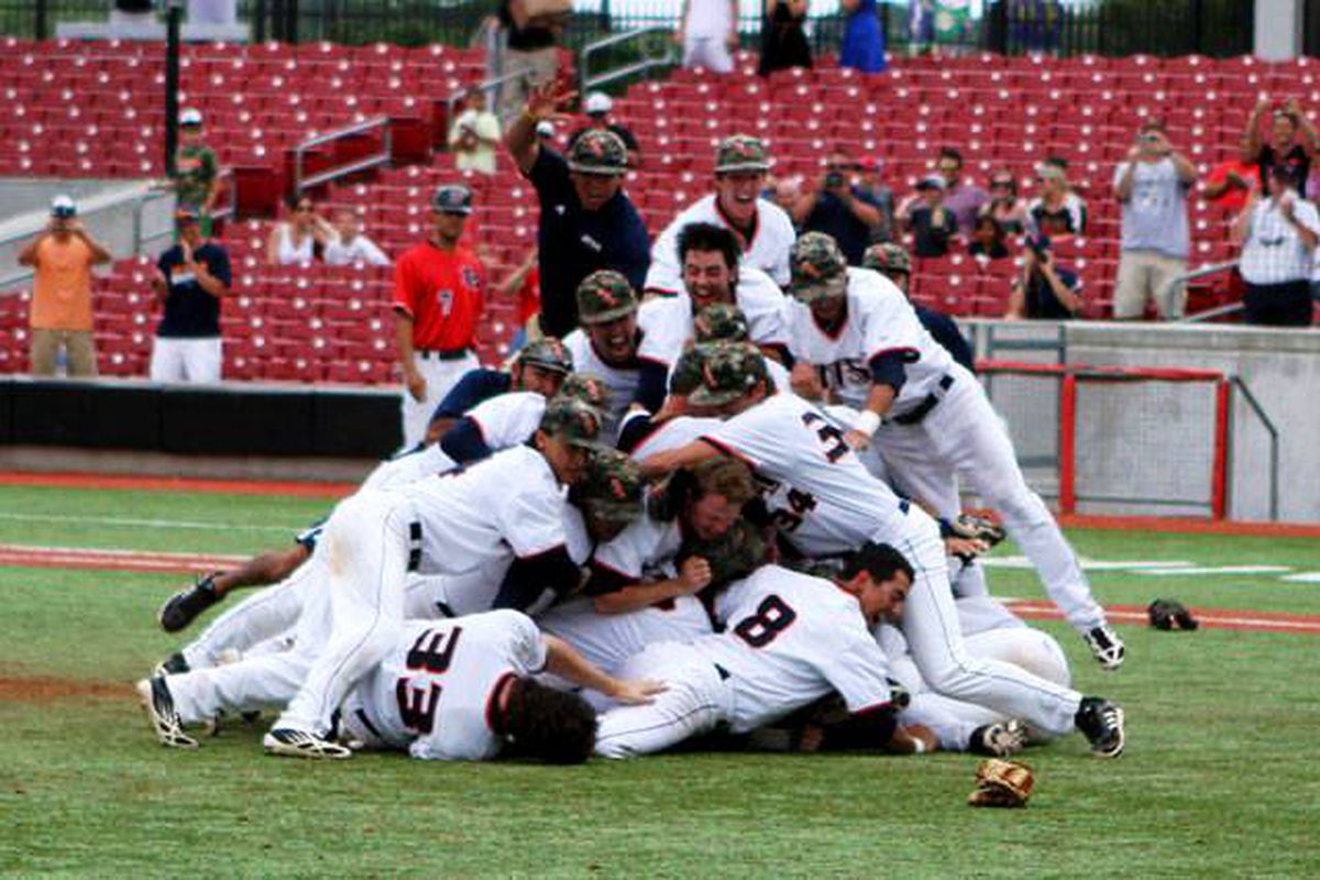 The Roadrunners celebrate winning the WAC, and earning their second ever game against Oregon St.