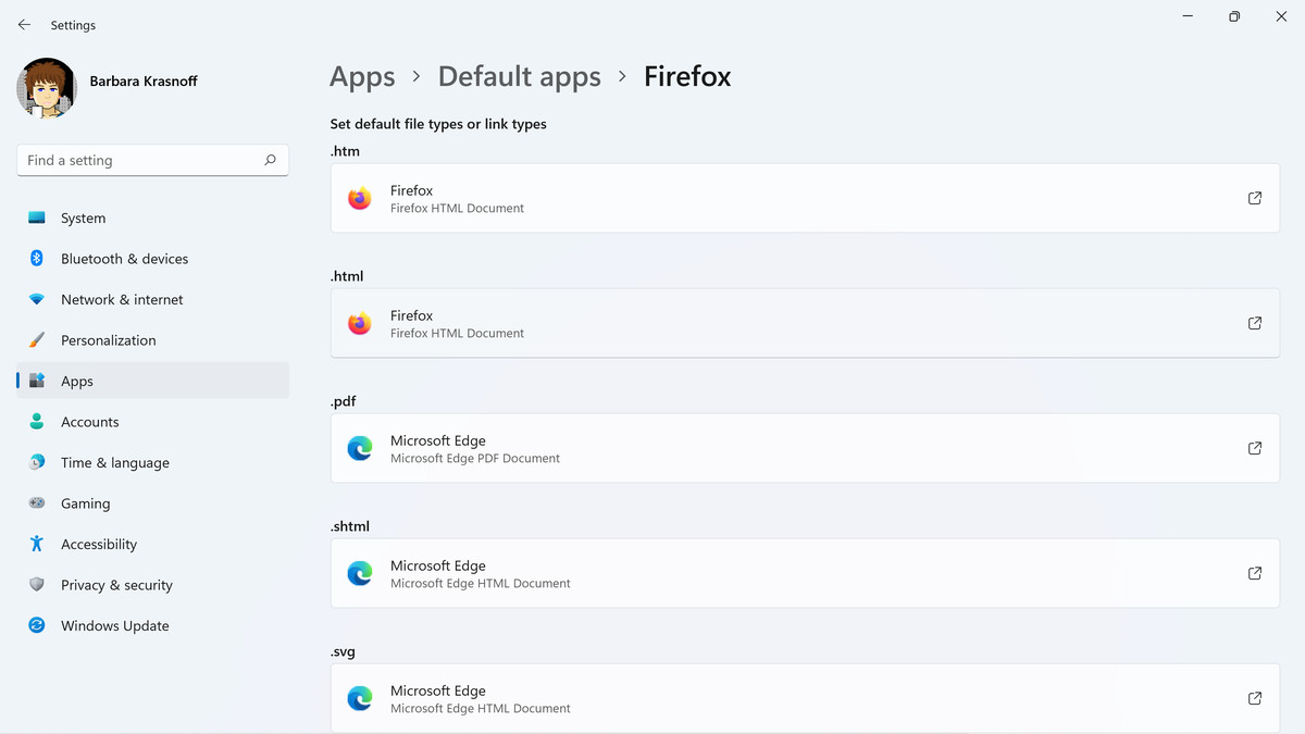The Firefox default wizard switches some — but not all — of the browser file settings.