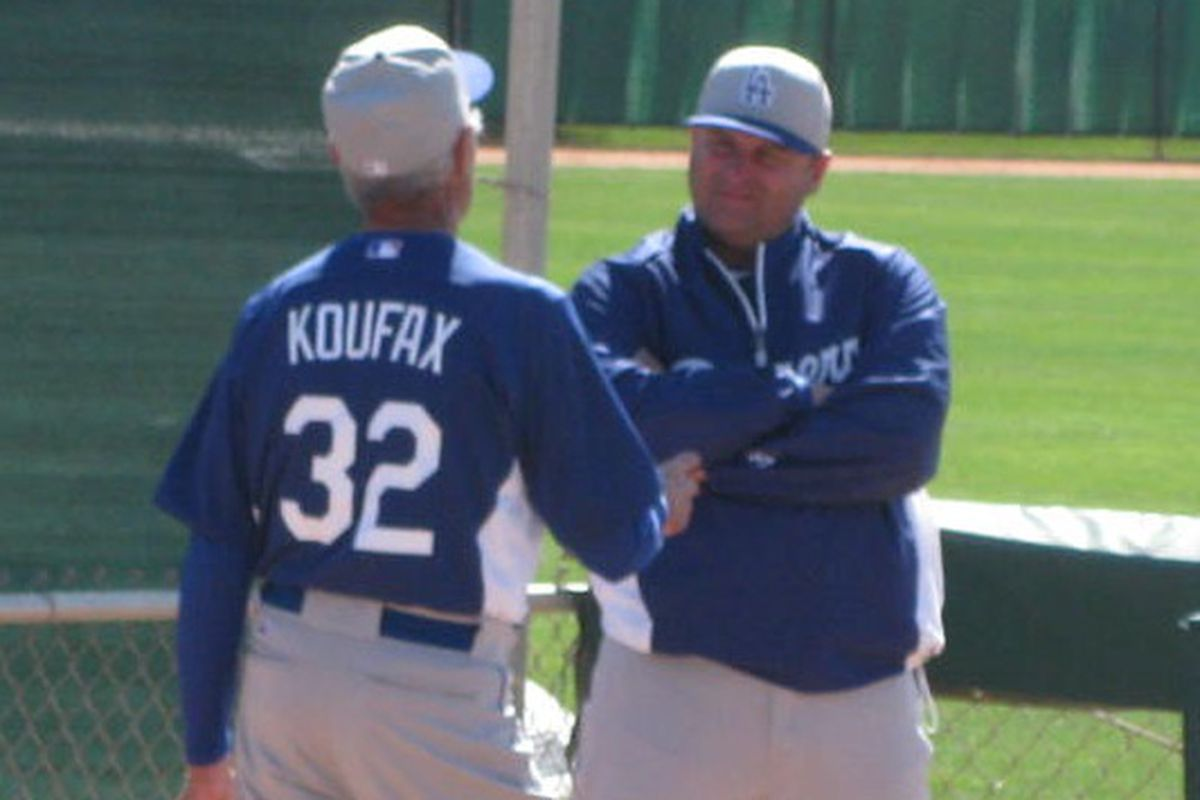 Here is Sandy Koufax talking pitching with minor league pitching coordinator Rafael Chaves.