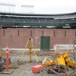 Wider view of work on the inner left-field wall