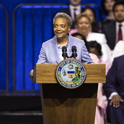 Mayor Lori Lightfoot makes her inaugural address during the city of Chicago's inauguration ceremony at Wintrust Arena, Monday morning, May 20, 2019.