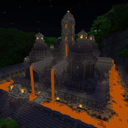 """The """"Of Temples & Totems"""" world in the <em>Minecraft</em> with RTX beta — ray tracing disabled"""