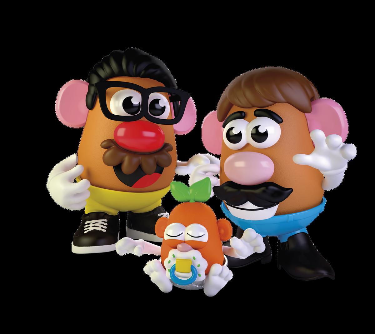 two potato dads with a potato child