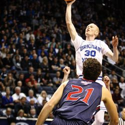 Brigham Young Cougars guard TJ Haws (30) floats in the only two points scored by BYU in the overtime loss to the Saint Mary's Gaels in the Marriott Center in Provo on Saturday, Dec. 30, 2017.