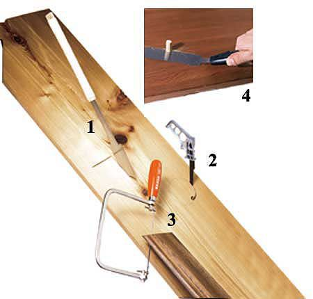 <p><strong>1) Azebiki saw</strong><br><strong>Best For:</strong> Straight-sided plunge cuts in the middle of a board for electrical boxes, switches, etc.<br> <br><strong>Shown:</strong> Japanese saw with a thin, two-sided blade (9 tpi rip and 15 tpi crosscut) that cuts on the pull stroke. No starter hole necessary.<br> <strong>2) Keyhole saw</strong><br><strong>Best For:</strong> Curved holes in plywood or solid wood for pipes or ducts through walls, roofs, and built-in cabinets.<br> <br><strong