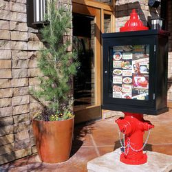 A dog's favorite fire hydrant greets guests at the door.