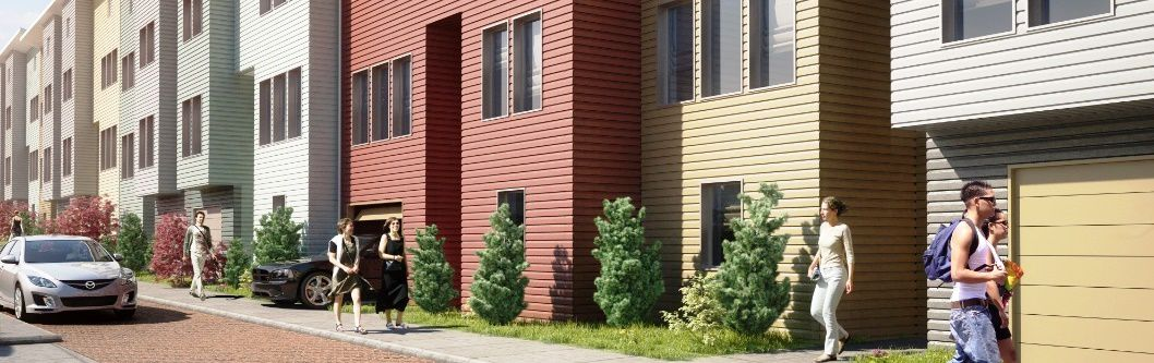 Rendering of people walking besides the multi-colored, plank-fronted homes at Habitat Terrace.