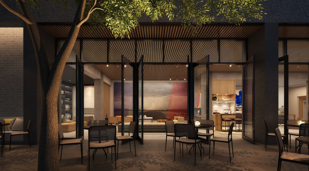 Another angle of the courtyard at the Canopy by Hilton