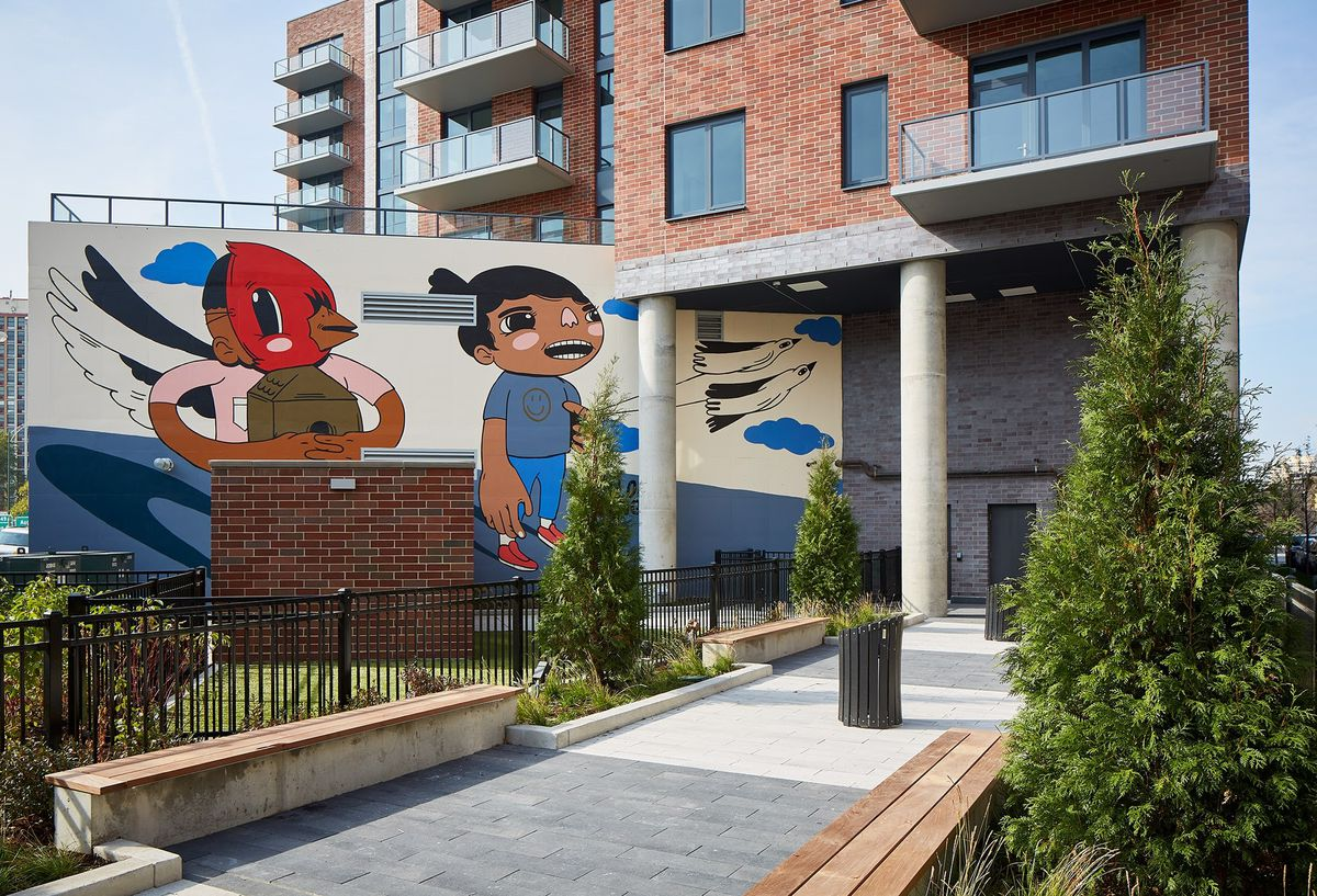 """Joseph """"Sentrock"""" Perez's mural on the east side of the Westerly apartments, 740 N. Aberdeen St., overlooks a small park."""