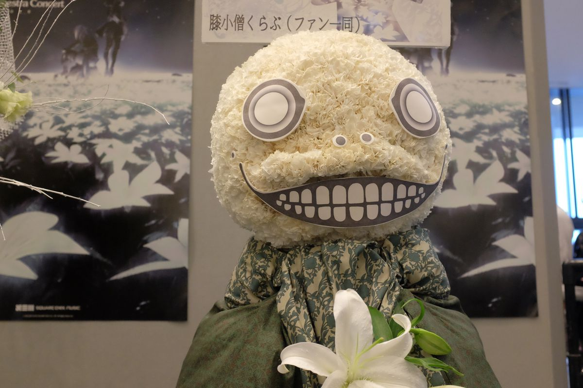 A recreation of Emil from Nier made of flowers