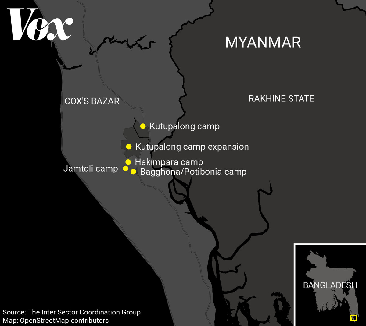 Map of camps in Bangladesh, near the border of Myanmar.
