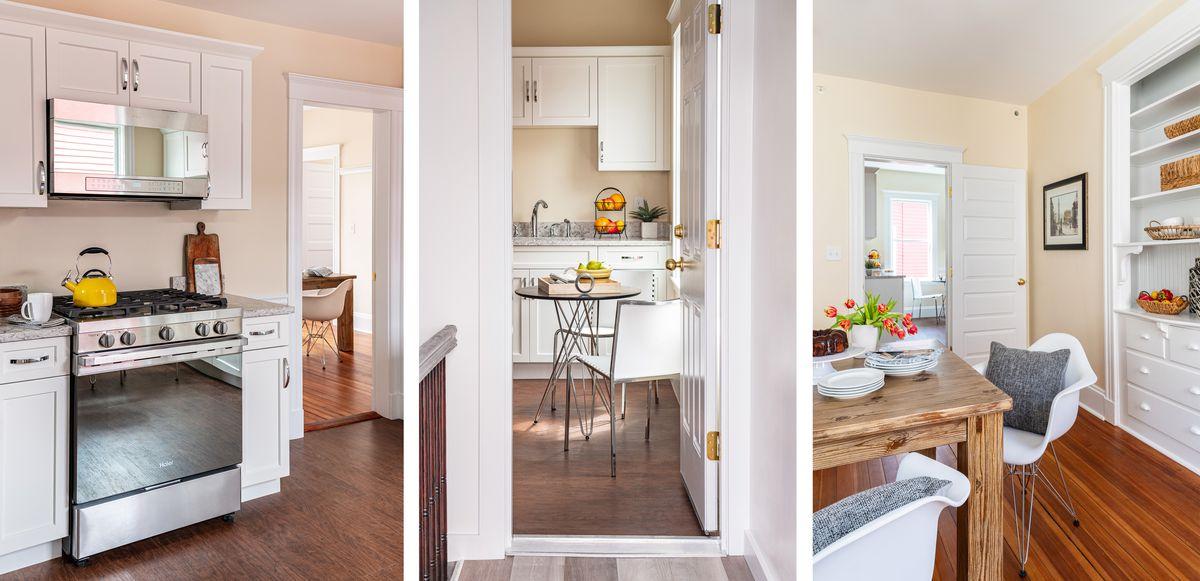 Fall 2021, Dorchester reveal, 3rd floor kitchen, back door view, dining room