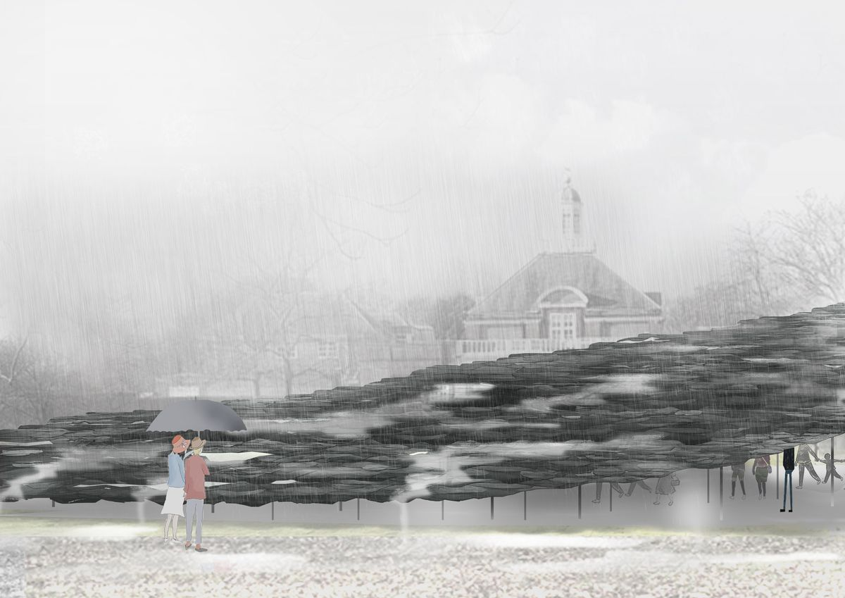 Rendering of two people standing in front of pavilion