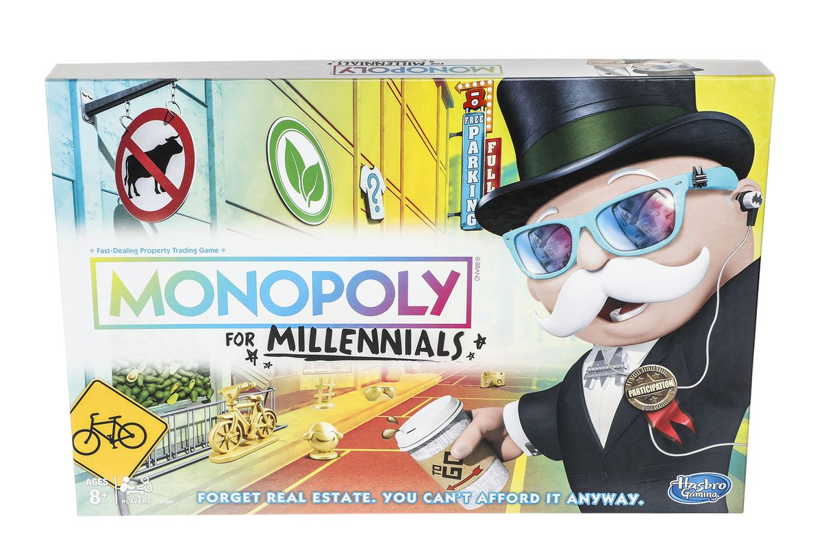 the new Hasbro board game, Monopoly for Millennials
