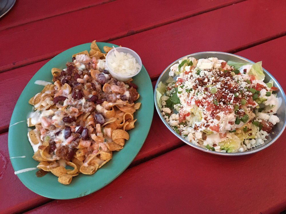 Frito pie and salad at Angel's Icehouse