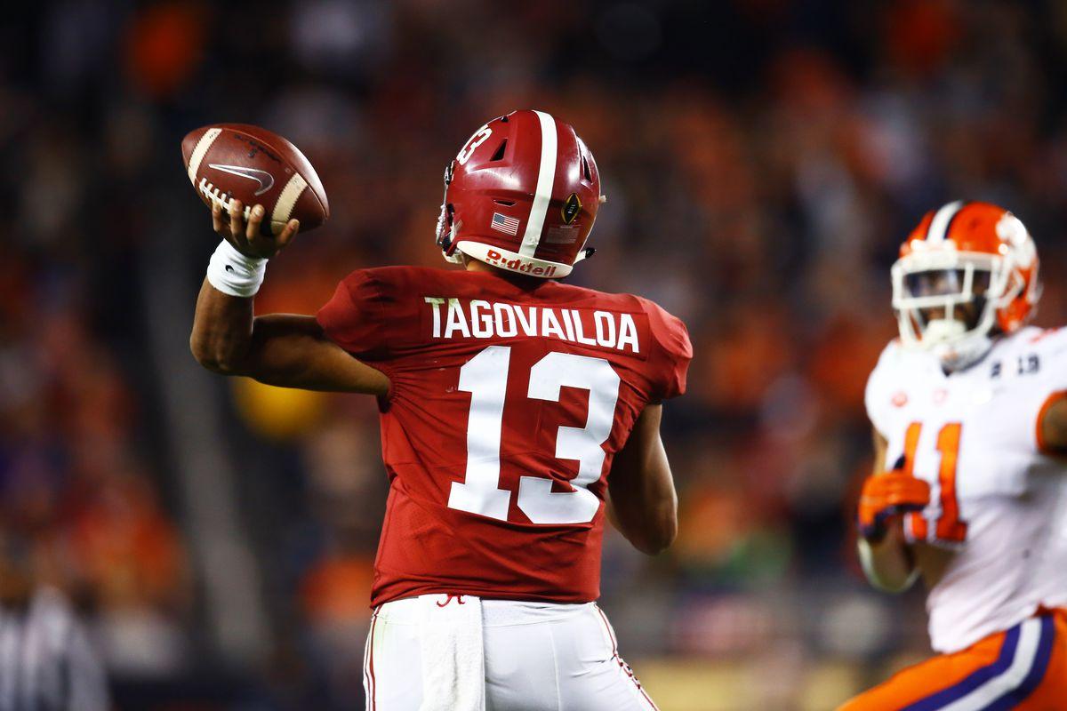 Alabama Crimson Tide quarterback Tua Tagovailoa against the Clemson Tigers in the 2019 College Football Playoff Championship game at Levi's Stadium.