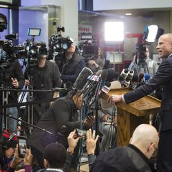 Attorney Michael Avenatti, who is representing an alleged R. Kelly victim, speaks to reporters at the Leighton Criminal Courthouse after Kelly was ordered held on a $1 million bond. | Ashlee Rezin/Sun-Times