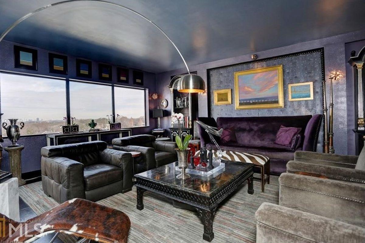 A lavishly purple condo in Midtown Atlanta.