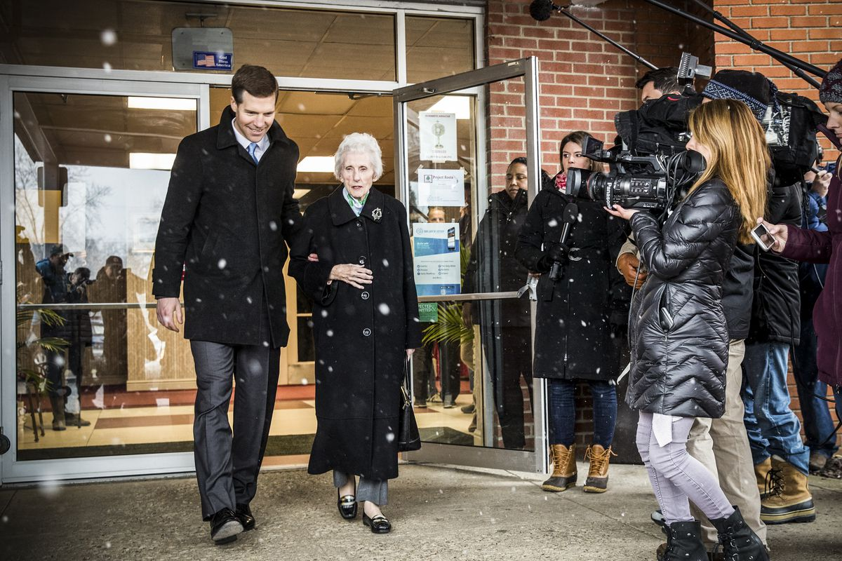 Conor Lamb exists a voting station with his grandmother Barbara Lamb in Carnegie, Pennsylvania, on March 13, 2018.