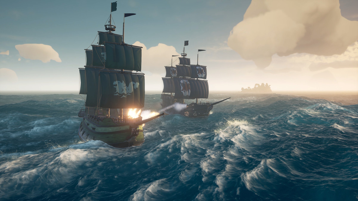 Sea of Thieves - cannon fire during a battle on the open sea between two ships
