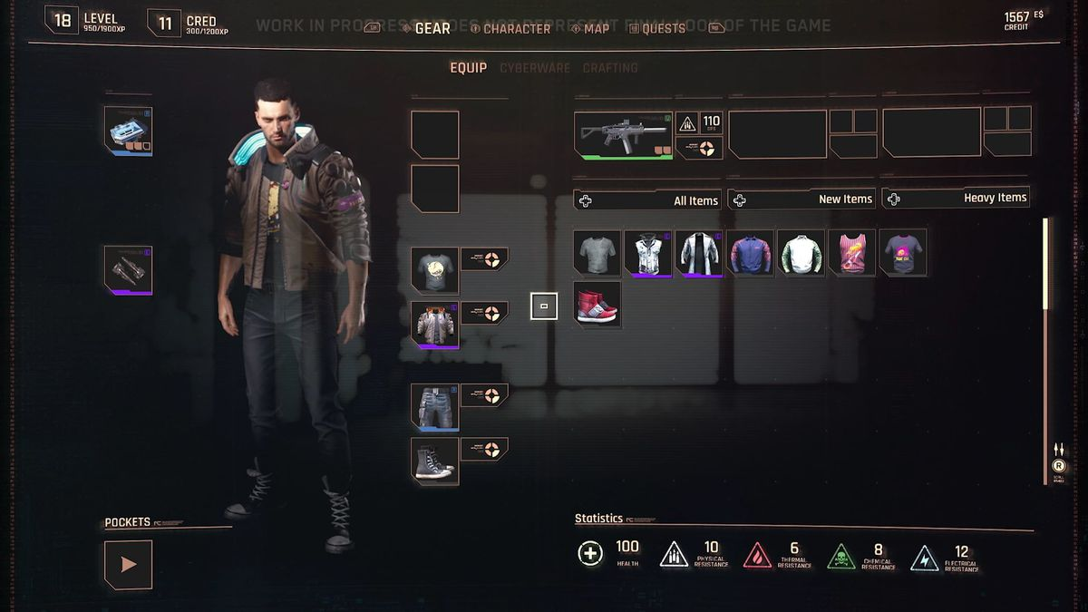 The inventory screen of CD Projekt Red. Cyberpunk 2077 gameplay reveal, Aug. 2019.