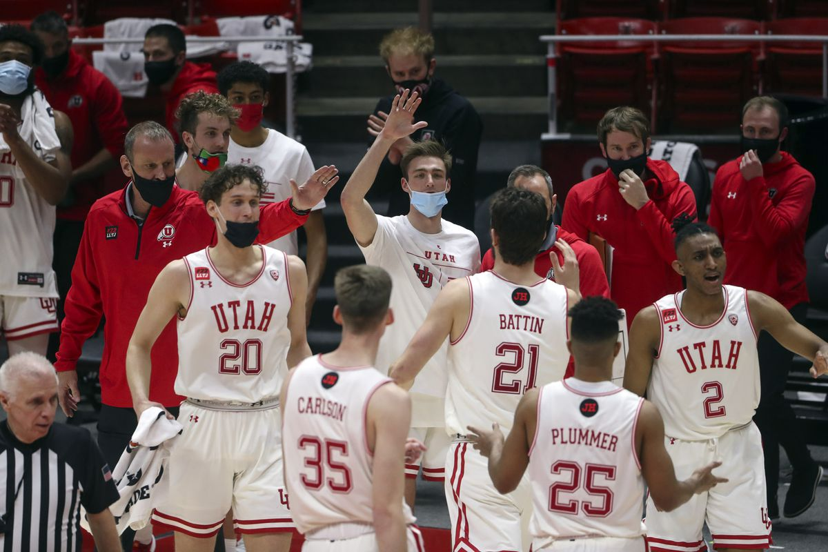 Utah celebrates during a timeout as the Utes pull away from USC during a game at the Huntsman Center on the University of Utah campus in Salt Lake City on Saturday, Feb. 27, 2021.