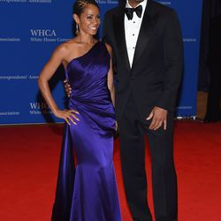 Will Smith and Jada Pinkett Smith, who is wearing a Romona Keveza gown.