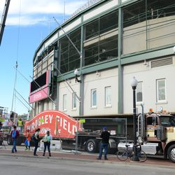 2:19 p.m. A wide view of the scene in front of the ballpark -