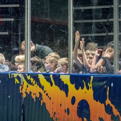 During pre-game warmups, kids are allowed to get close to the action