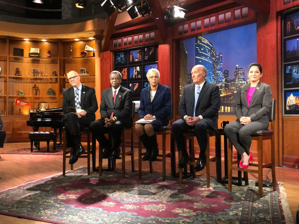 Mayoral candidates, left to right, Paul Vallas, Willie Wilson, Toni Preckwinkle, Bill Daley and Susana Mendoza prepare for a debate at WTTW-Channel 11 on Monday. Photo by Rachel Hinton.