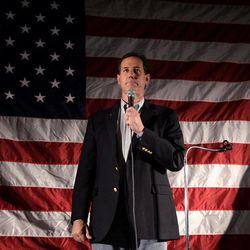 Republican presidential candidate, former Pennsylvania Sen. Rick Santorum pauses while speaking in Menasha, Wis., Monday, April 2, 2012.