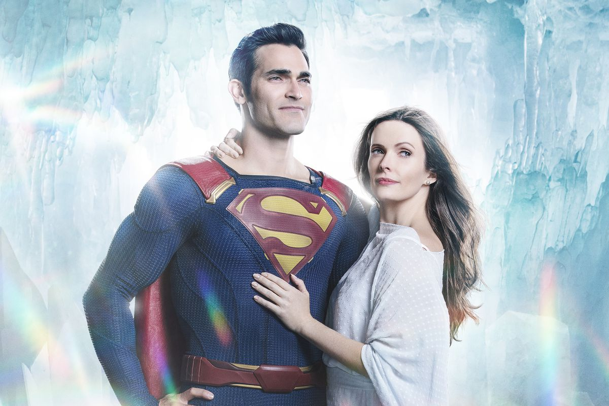 Tyler Hoechlin and Bitsie Tullock as Superman and Lois Lane from the CW's Supergirl.