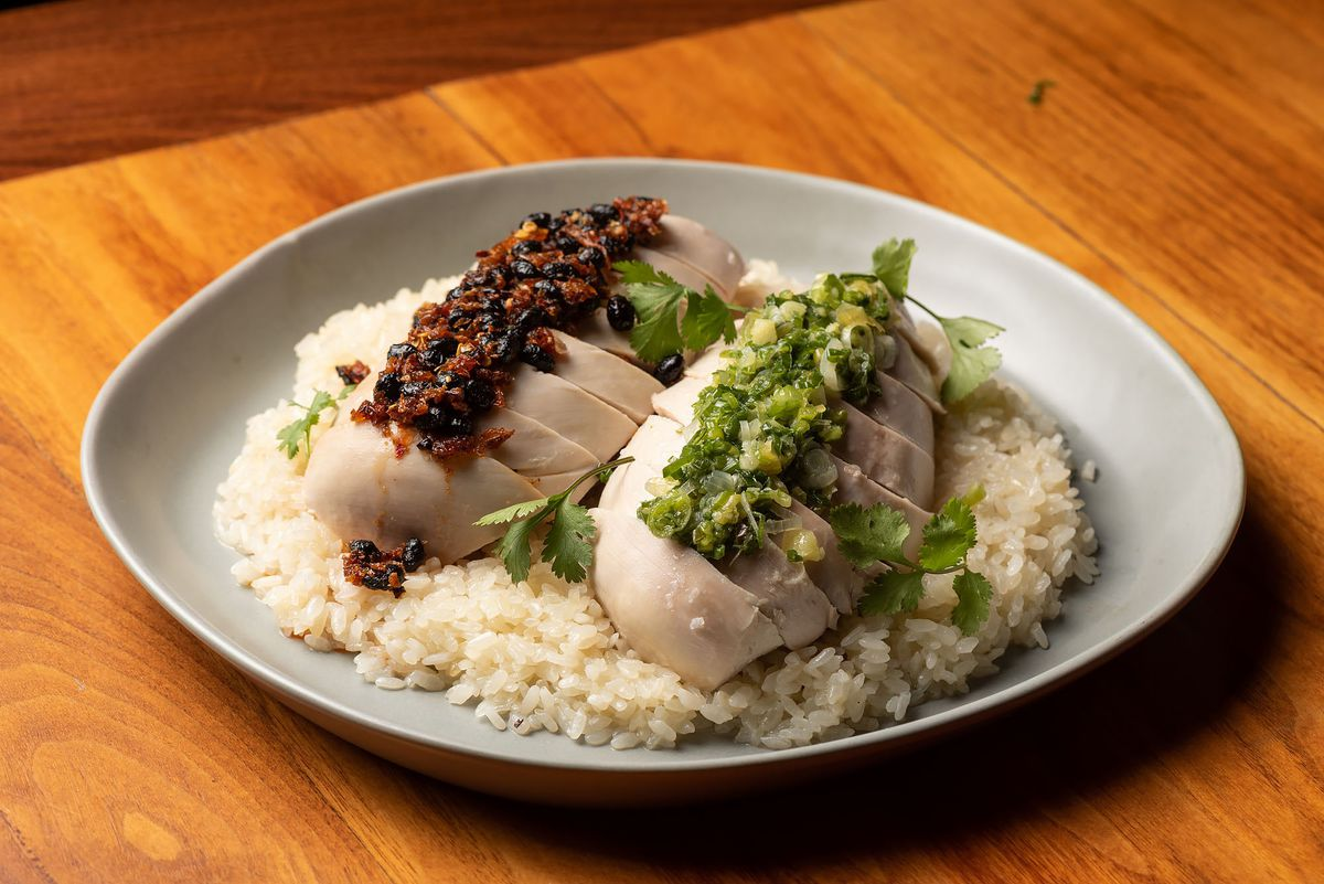 Boiled chicken on rice at Majordomo