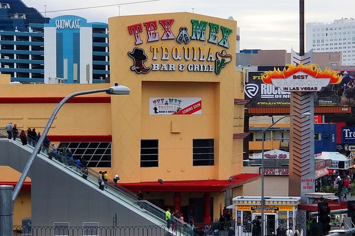 The exterior of the huge Tex Mex Tequila Bar & Grill, replacing the long shuttered Harley-Davidson Las Vegas Cafe on the Strip.