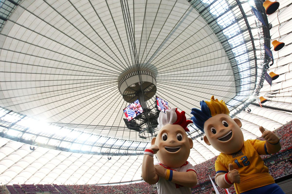 Polish mascot, left, auditioning for Middle Finger Project.  (Photo by Alex Grimm/Getty Images)