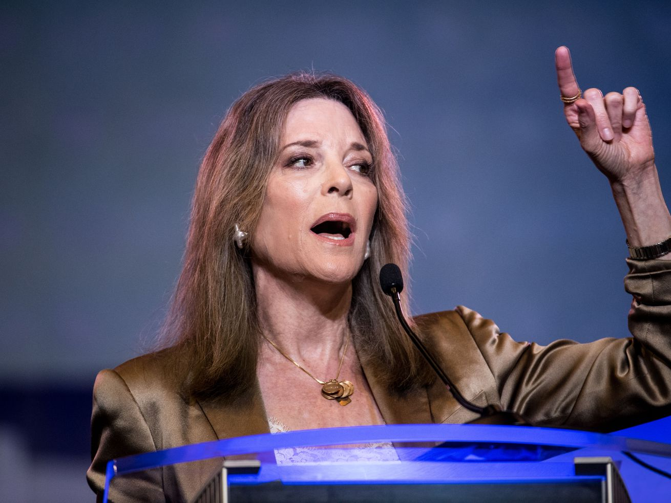 Democratic presidential candidate, author, Marianne Williamson addresses the crowd at the 2019 South Carolina Democratic Party State Convention on June 22, 2019 in Columbia, South Carolina.
