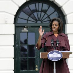 First lady Michelle Obama speaks at an event on the South Lawn of the White House in Washington, Wednesday, April 11, 2012, marking the one year anniversary of Joining Forces.