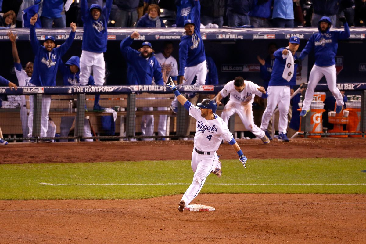Alex Gordon #4 of the Kansas City Royals reacts as he runs the bases after hitting a solo home run in the ninth inning to tie the game against the New York Mets during Game One of the 2015 World Series at Kauffman Stadium on October 27, 2015 in Kansas City, Missouri.