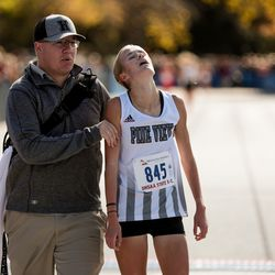Pine View's Jessica Hill places second in the 4A Girls State Cross-Country Championships at Highland High School in Salt Lake City on Wednesday, Oct. 23, 2019.