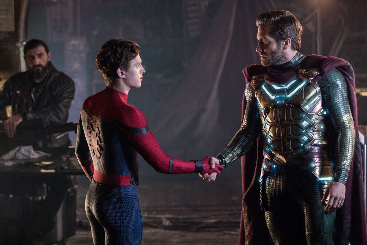 Tom Holland and Jake Gyllenhaal shake hands as Spider-Man and Mysterio in Spider-Man: Far From Home