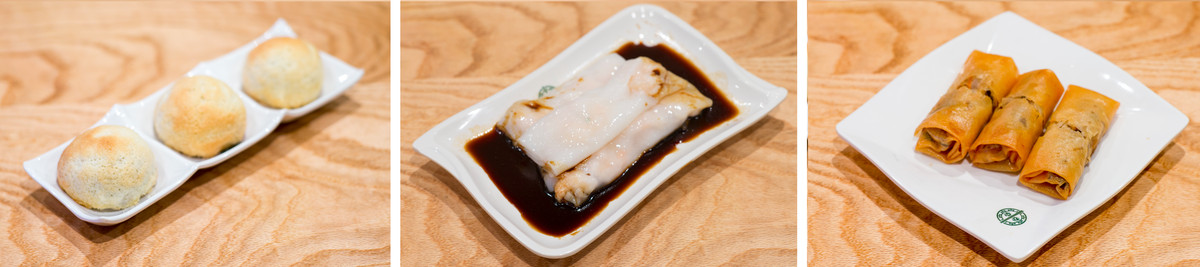 char siu bao, steamed rice roll with shrimp, vegetable spring roll
